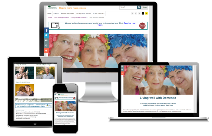 Bromley MyLife Dementia responsive pages
